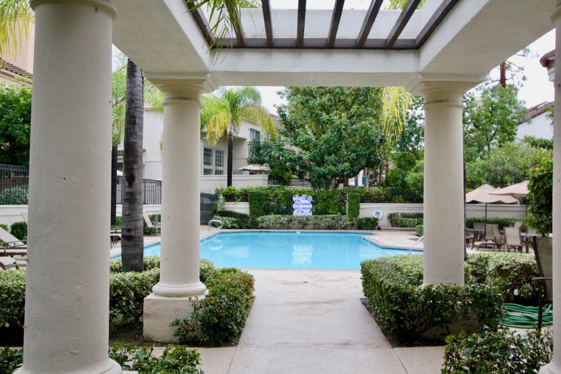 THE BUILDING IN THE GREYSTONE CALIFIA WITH THE SWIMMING POOL, CHAIRS, PLANTS, TREES