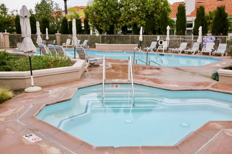 Pool and terrace at Palmia Courts 2 in Mission Viejo, California