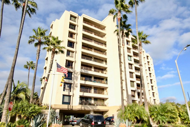 Beautiful view of Lido Park Place building on a sunny day in Newport Beach, CA