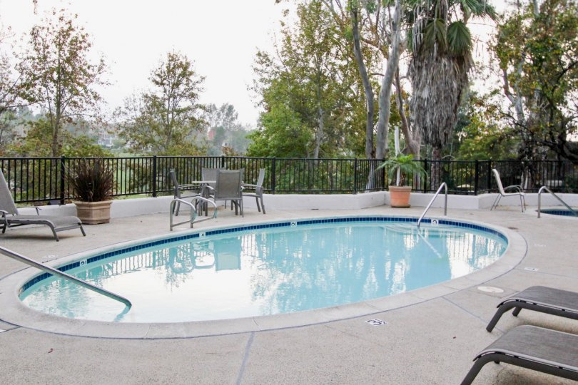 A SWIMMING POOL IN THE BIG CANYON MCLAIN WITH THE CHAIRS, FLOWER POT, PLANTS, TREES