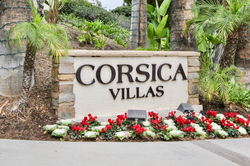 A great day in the Corsica Villas with a sign and lights.