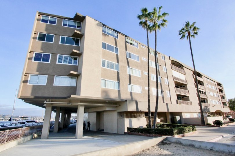 A sunny day in the Newport Bay Towers with a apartment and palm trees.