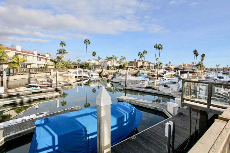 Front boat yard in Newport Marina Villas community, Newport Beach, CA