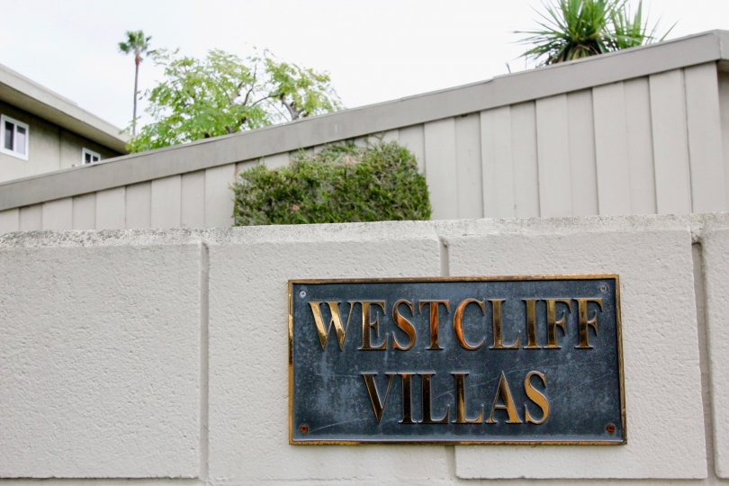 Front sign area of Westcliff Villas community, Newport Beach, California