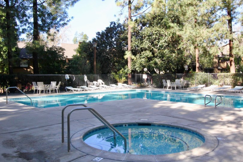 The pool and hot tub in the Chapman Townhouse community with trees