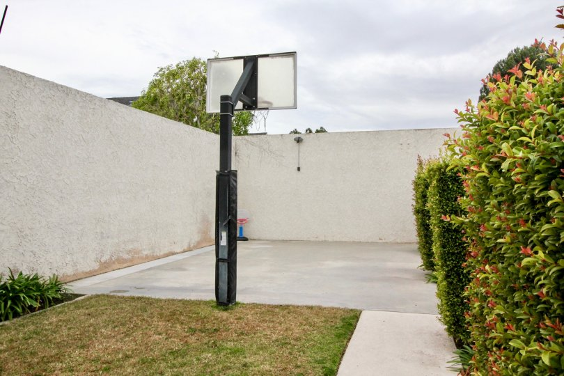The basketball court in Fletcher Avenue community with a fence