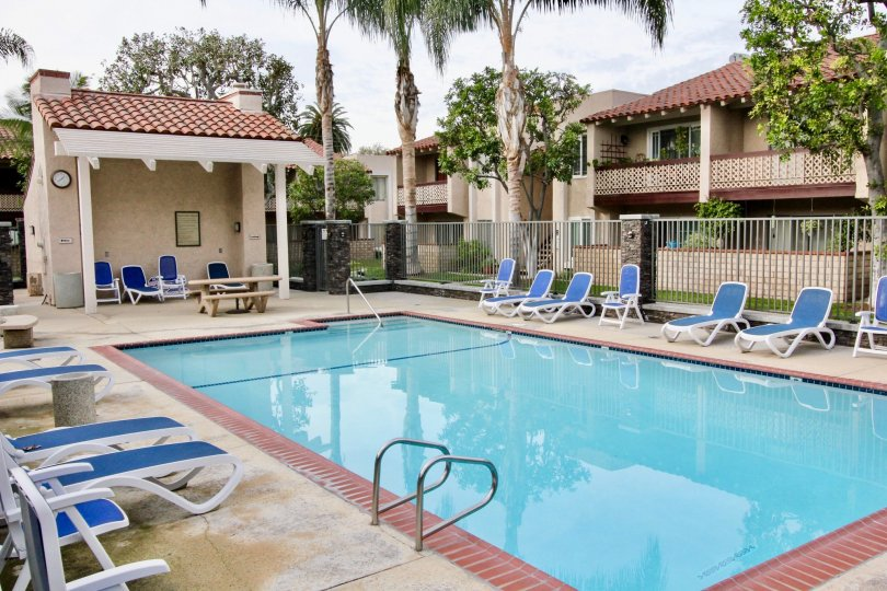 Community pool and lounge chairs in the La Veta Monterey neighborhood