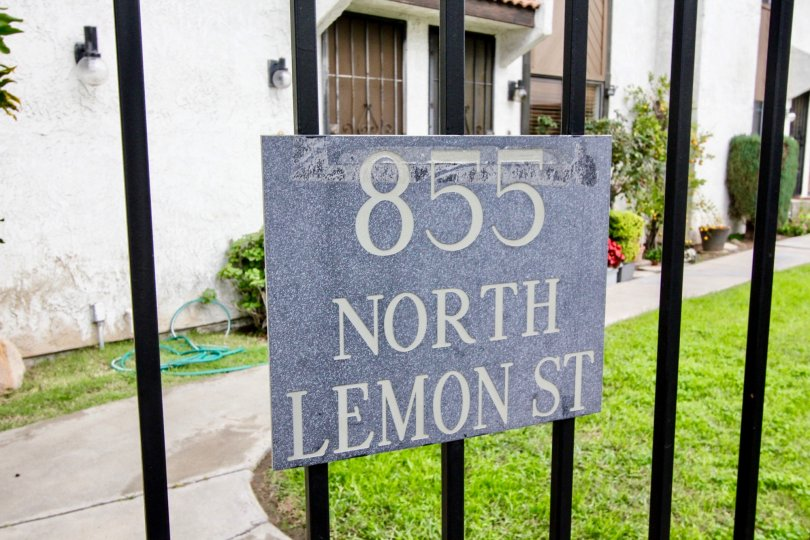 Decorative address sign in the Lemon Tree community of Orange, CA.