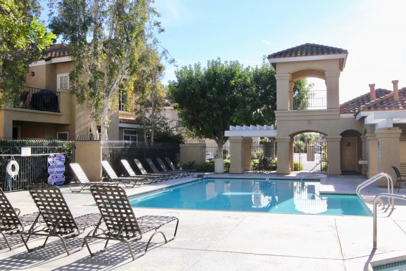 A beautiful sunny day to sit pool side at Montevista in Orange, California