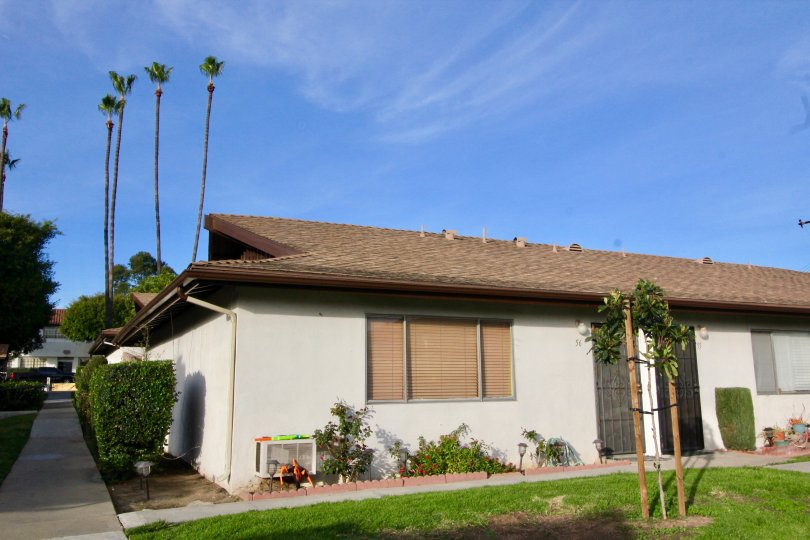 A beautiful home in Park 72 framed by palm trees in Orange, California.