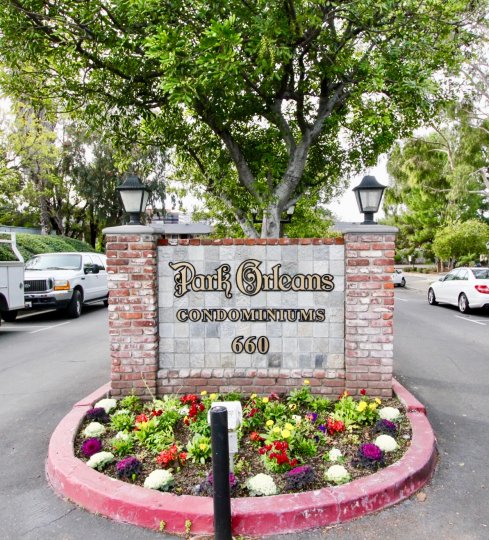Gorgeous Welcome sign for the Park Orleans Condominiums.