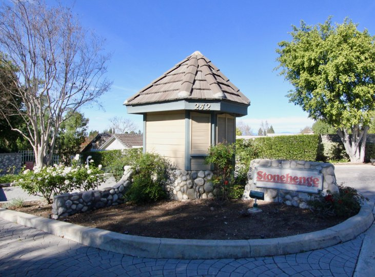 The Stonehenge community welcomes you with its quaint entry in Orange, CA.