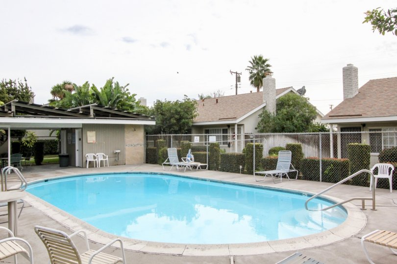 Pool area in The Californian community in Organge California