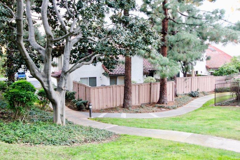 Wooden fences behind houses in Villa La Paloma Orange, CA