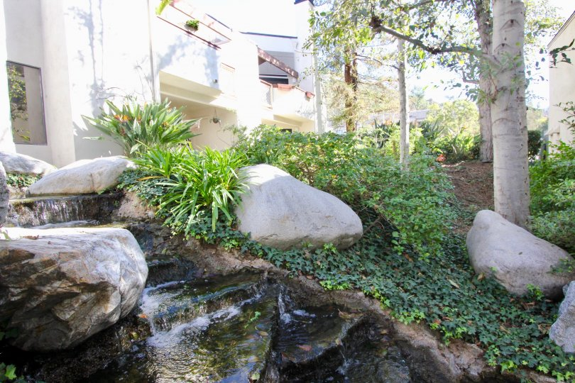 water feature landscape outside Villeurbanne Community in Orange, CA