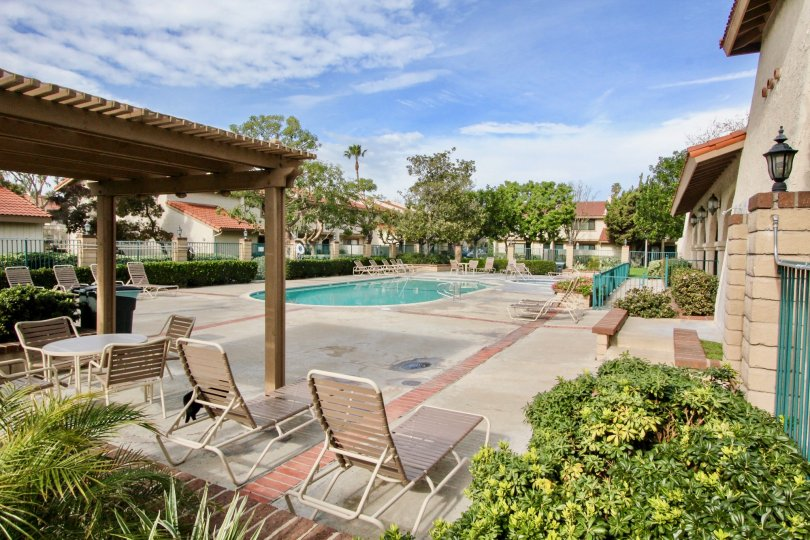 A pool lined with chairs belonging to the gated community of Vista Monterey in Orange California.