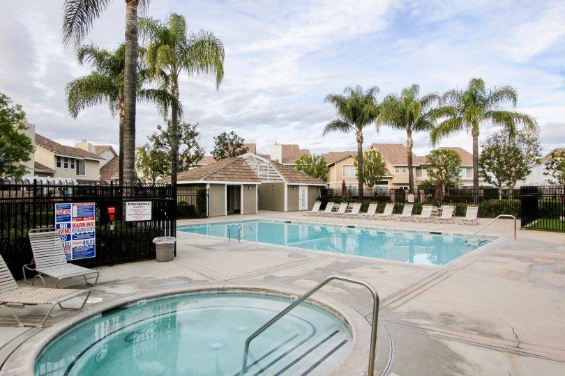 The beautiful pool with palm trees at Vista Santiago in Orange, California.