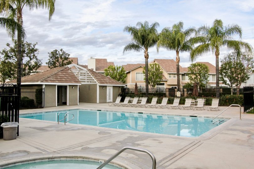 Community pool area in Vista Santiago community of Orange, California.