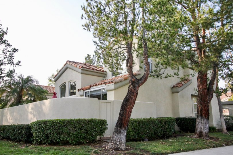 Overcast day, street view of walled residence in Alicante, Rancho Santa Margarita, California