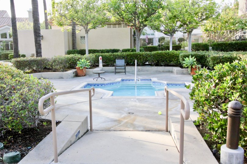The pool area with nice landscaping in the community of Alicante in the city of Rancho Santa Margarita California
