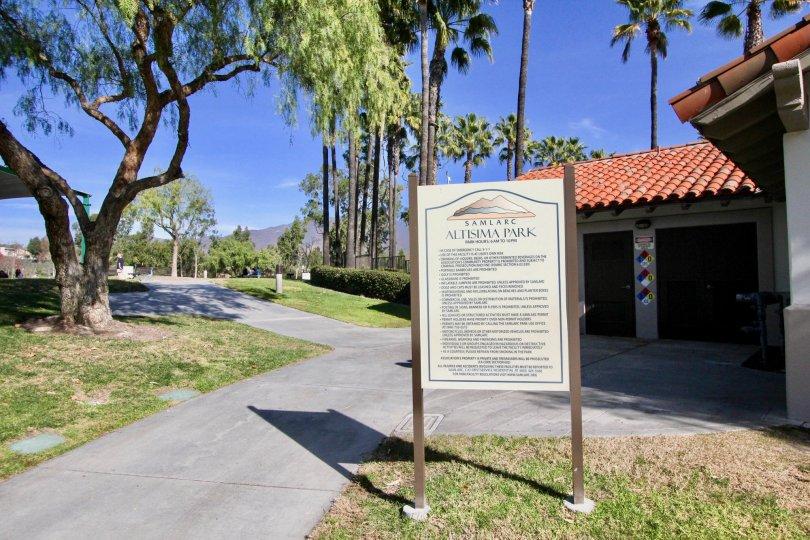 A sign off the sidewalk in Ballantree community in Rancho Santa Margarita, California.