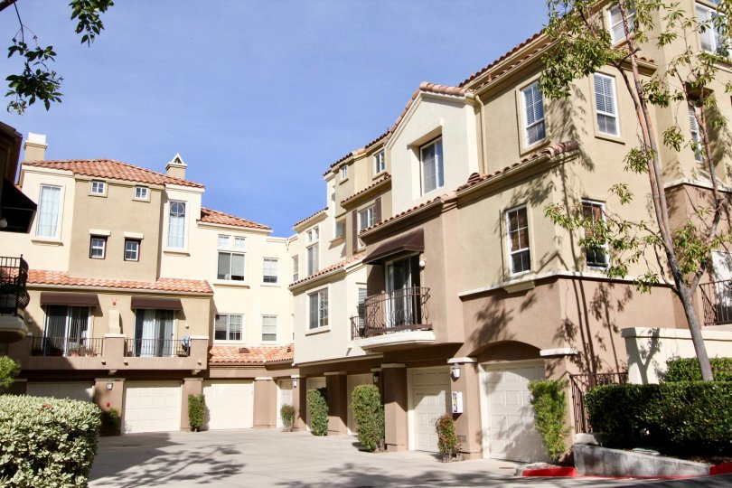 A very large tan complex in Barcelona community in Rancho Santa Margarita, california.