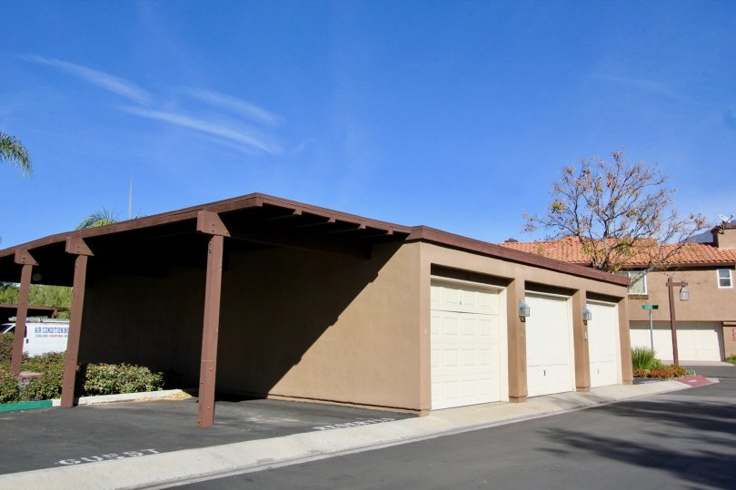 A covered garage in Brisa del Lago II in Rancho Santa Margarita, CA