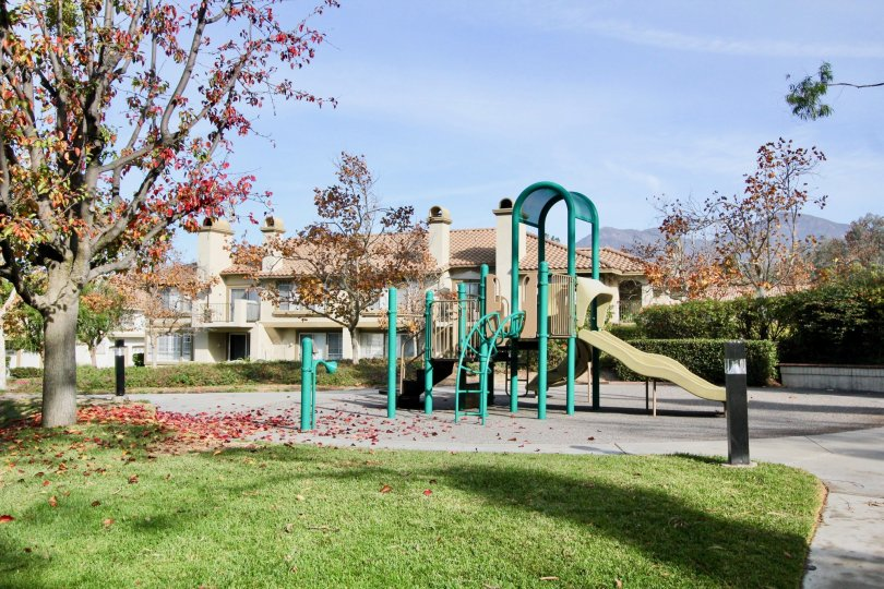 Grass and playground in Casafina in Rancho Santa Margarita, CA