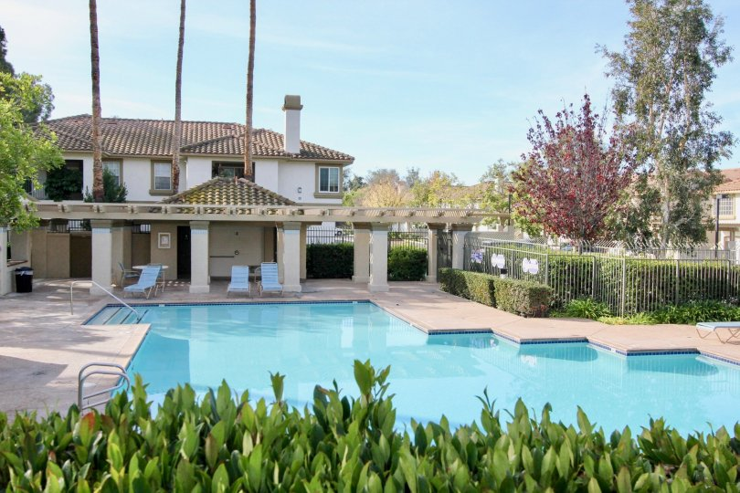 Poolside view of Casafina a community in Rancho Santa Margarita, California.