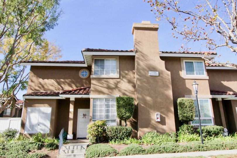 Curb appeal in Mission Courts in the city of Rancho Santa Margarita, California.