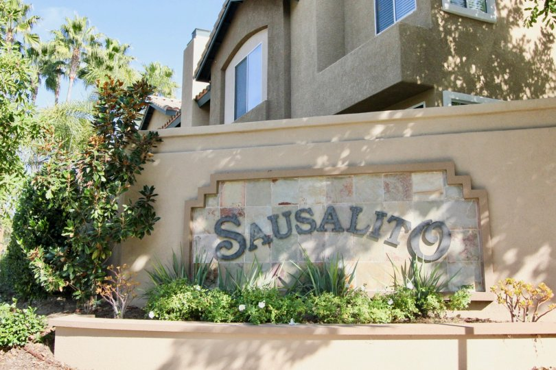 The beautiful sign in front of the homes of the Sausalito community which is located in Rancho Santa Margarita, Calfornia