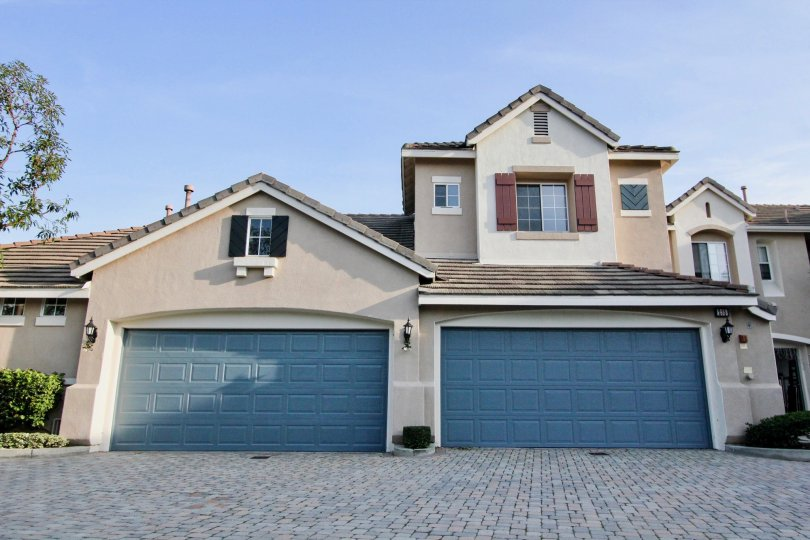 Two blue garage doors in Sea Country in Rancho Santa Margarita, CA