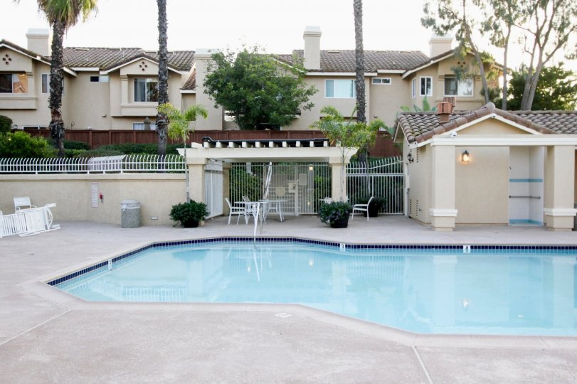 A mostly sunny day by a Sierra Verde pool in an apartment complex with apartments and trees behind the pool