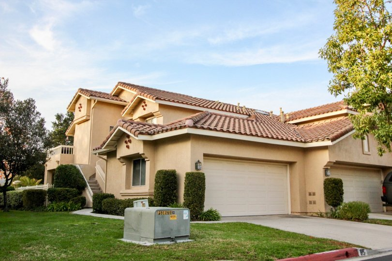 Curb side view of Sierra Verde community in Rancho Santa Margarita, California.