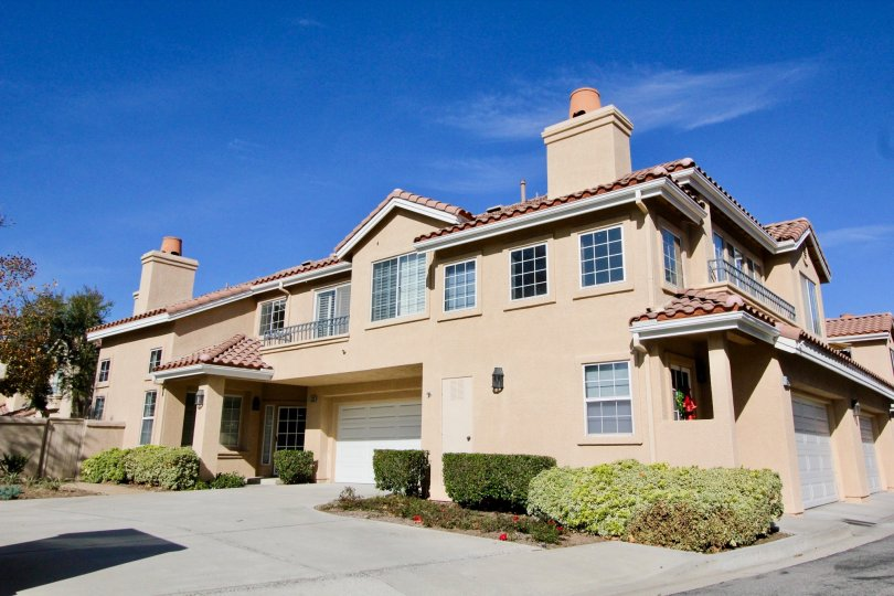 The Sonoma Court community with multi family units with large decks and garages in Rancho Santa Margarita, California