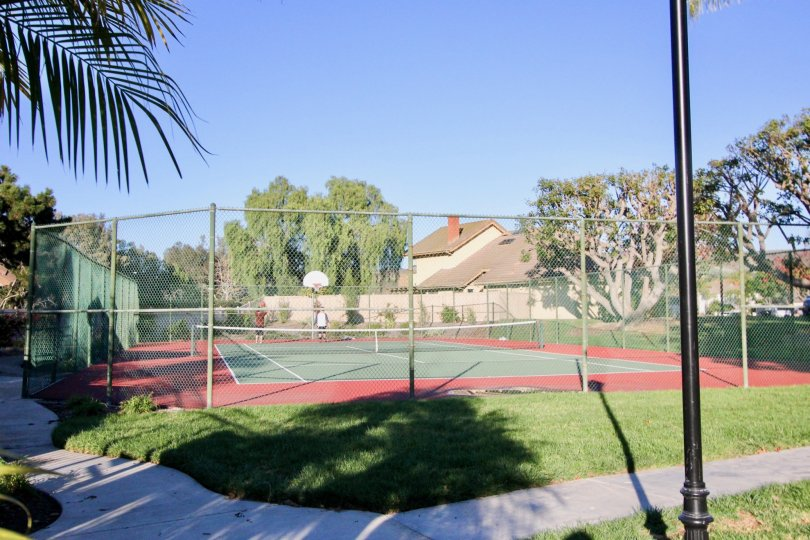 A beautiful lawn around the playing court and iron fenced wall around it in Colony at Forster.
