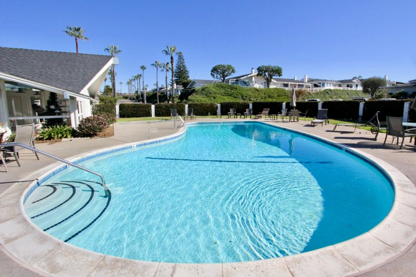 Drop shape swimming pool with steps and railing in Colony Cove.