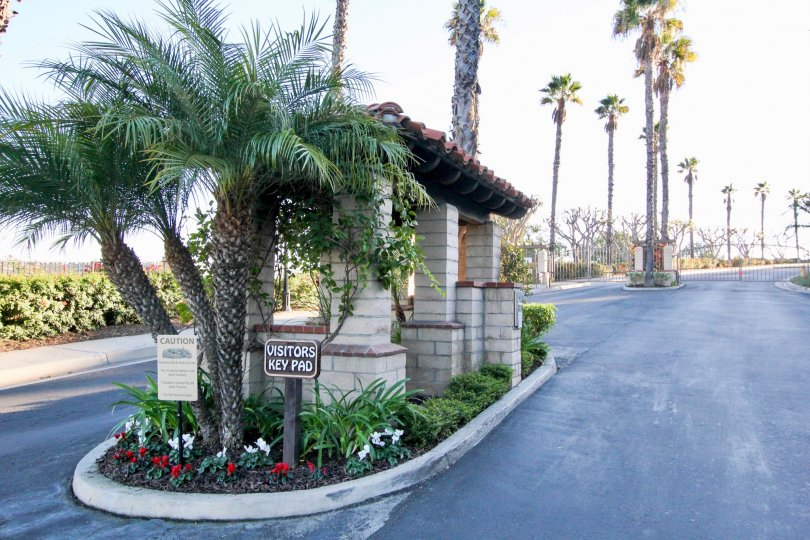Palm tree lined, gated Visitor entrance to Del Cabo Estates in San Clemente California