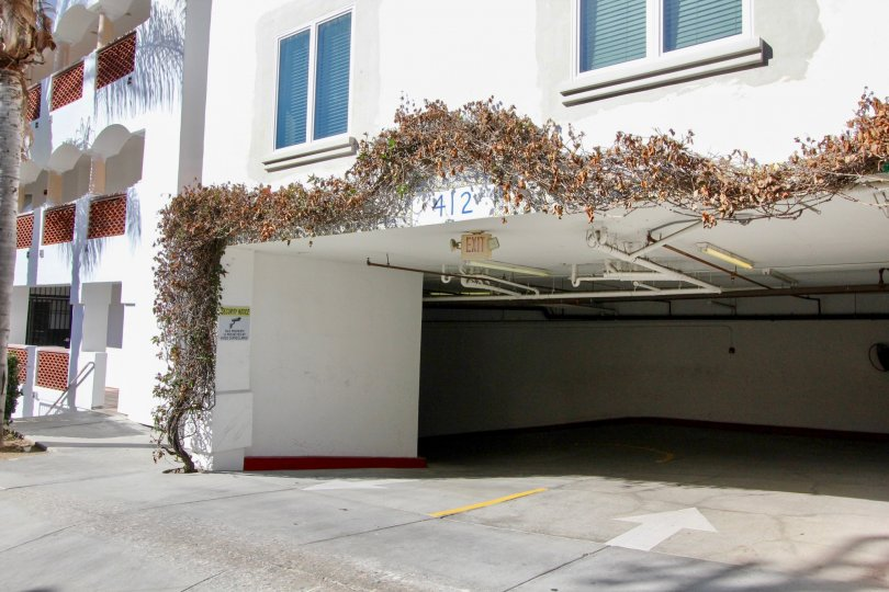 A car porch in the Vista Pacifica Villas with plant.