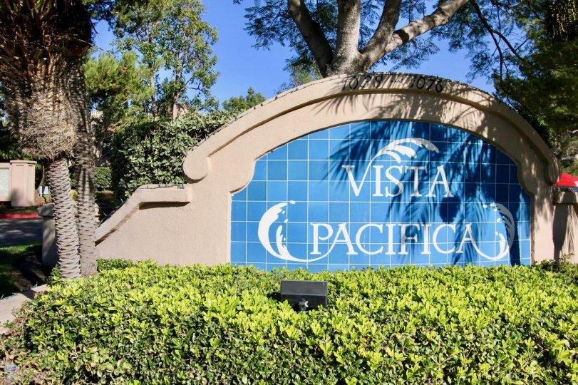 Colorful entryway sign makes Vista Pacific a distinctive landmark