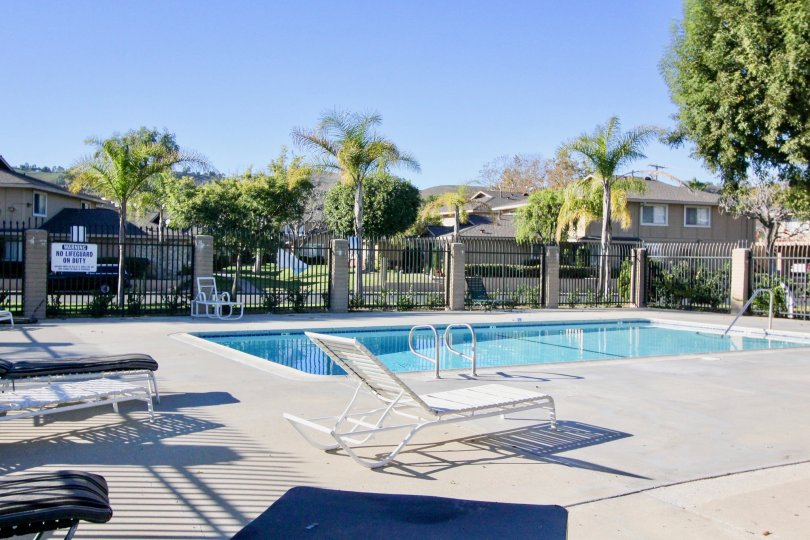 The sparkling blue pool at Casa De Capistrano with pool chairs, tall fencing and palm trees
