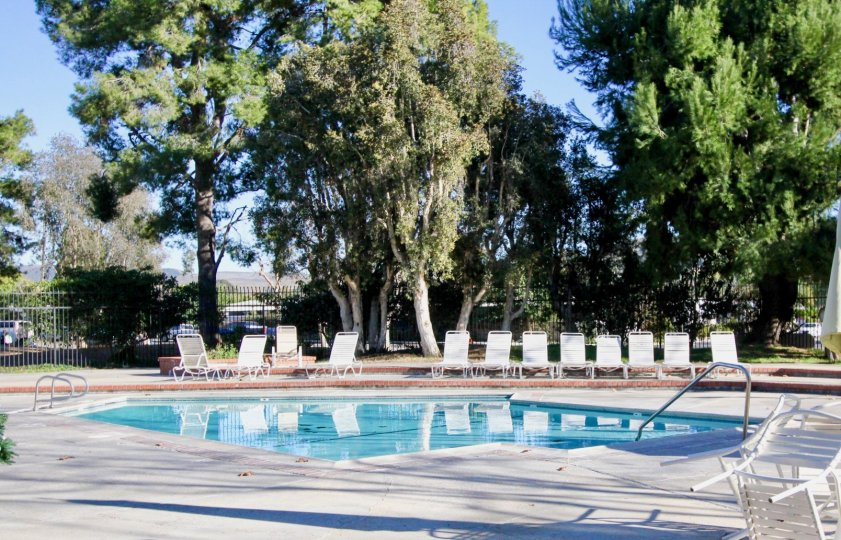 This image shows the beautiful swimming pool with the lot of trees, chairs looks beautiful view that is situated in the community of Casitas De Alipaz