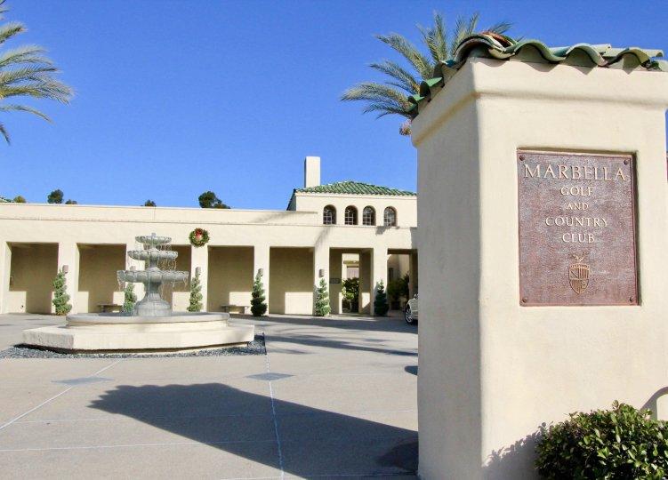 Front sign and fountain at Marbella Golf Villas in San Juan Capistrano, CA
