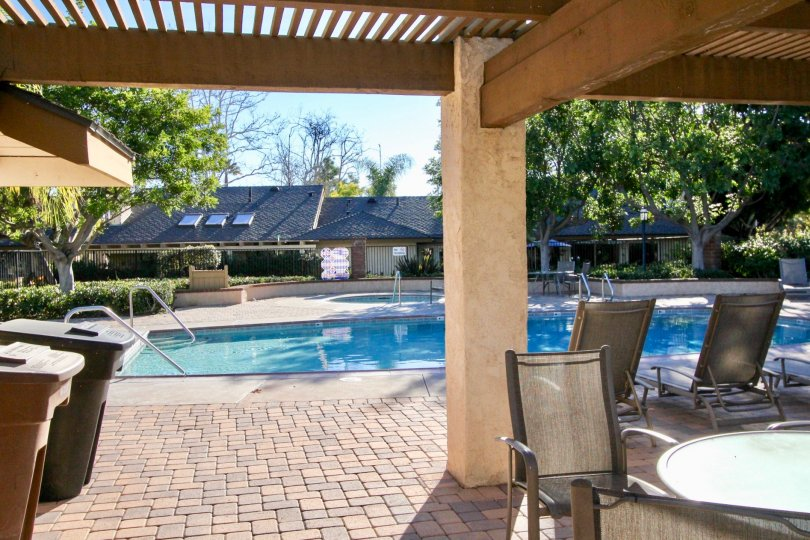 A sunny day at in the Mission Point area with a pool that is gated