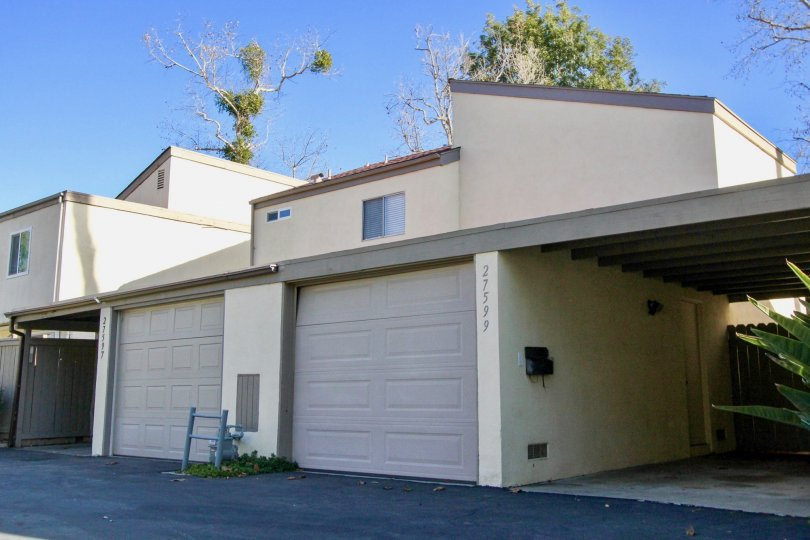 Garages side-by-side at Sun Hollow in San Juan Capistrano, CA