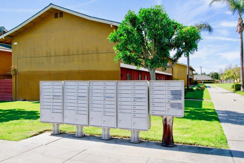 Fairlane Gardens mailboxes alongside the sidewalk in Santa Ana, California