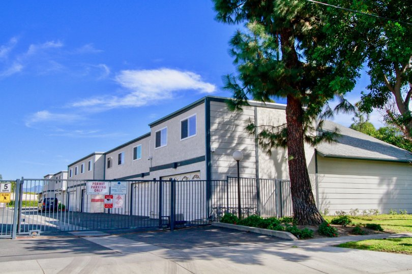 A sunny day outside the Mountain View garages in Santa Ana, California