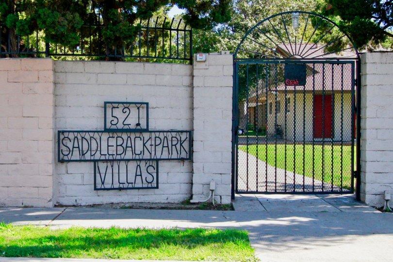 Entry to Saddleback Park Villas in Santa Ana, California