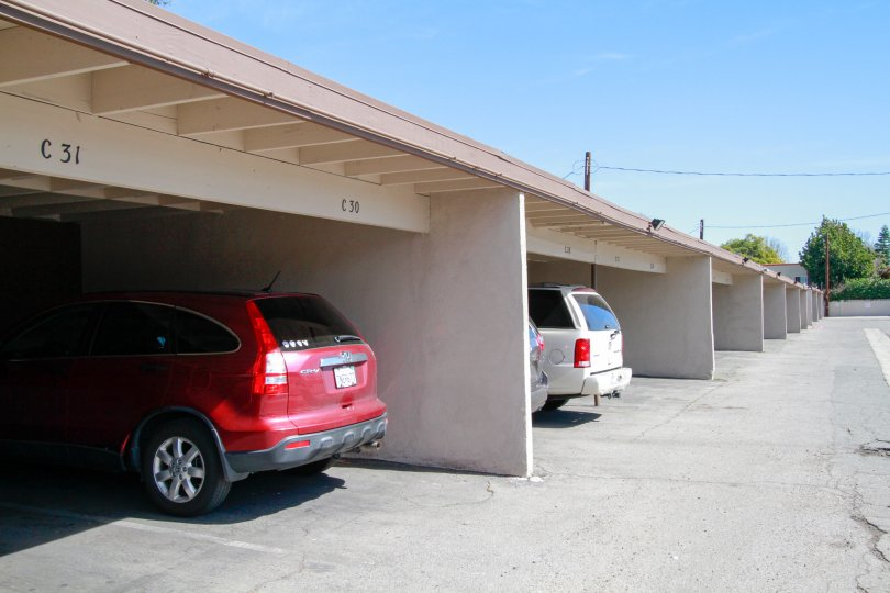 A large covered parking area at Saddlebark Park Villas in Santa Ana CA