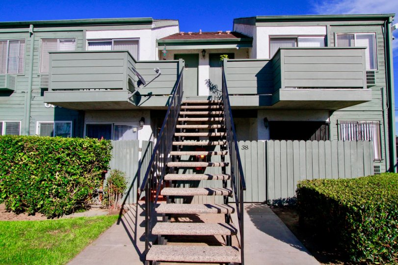 Long stair way to second story home in Shadow Wood Community, in Santa Ana, California